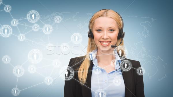 Línea de ayuda operador virtual Screen negocios comunicación Foto stock © dolgachov