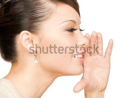Nő suttog pletyka fényes kép kéz Stock fotó © dolgachov