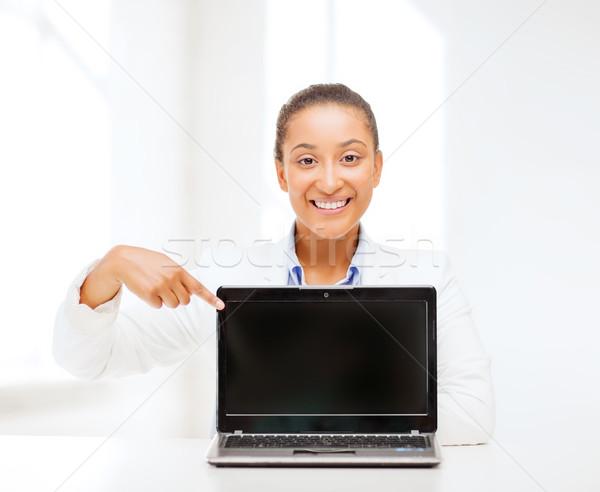 smiling woman with laptop computer Stock photo © dolgachov