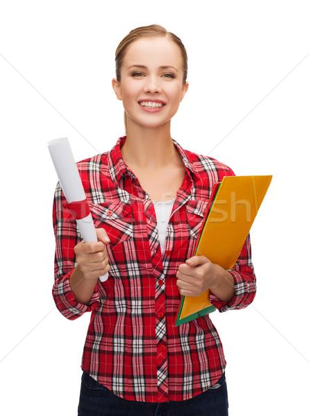 smiling woman with diploma and folders Stock photo © dolgachov