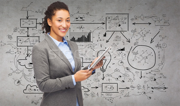 Stockfoto: Glimlachende · vrouw · naar · business · internet · technologie