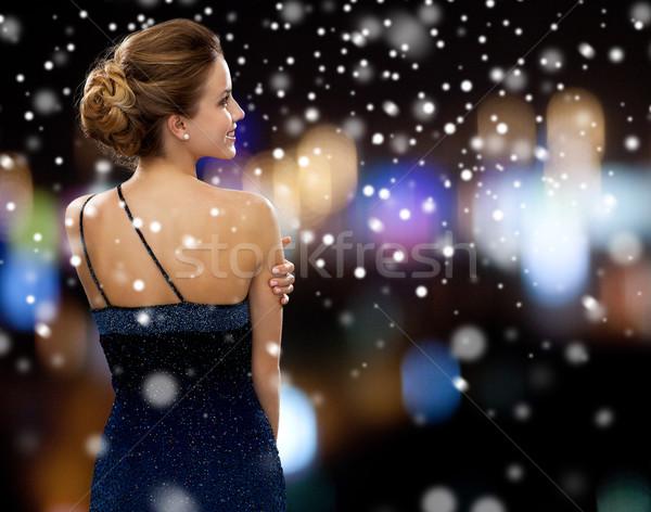 Sorrindo vestido de noite pessoas natal férias glamour Foto stock © dolgachov