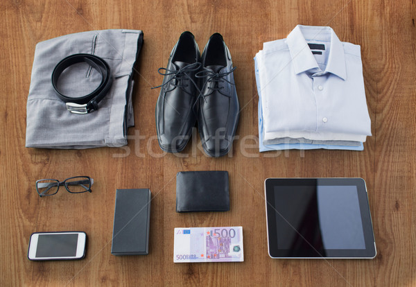close up of formal clothes and personal stuff Stock photo © dolgachov