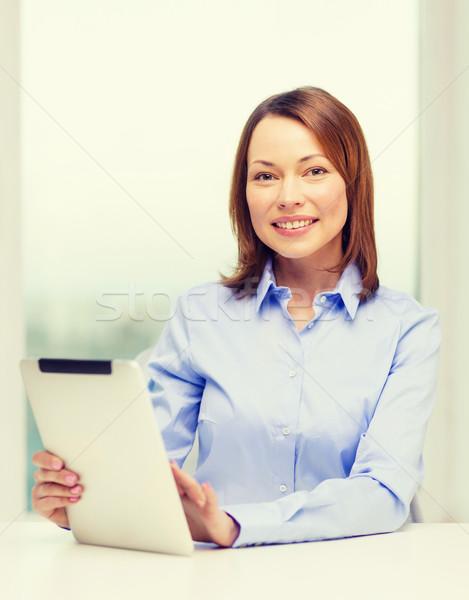 Glimlachend zakenvrouw student kantoor business Stockfoto © dolgachov