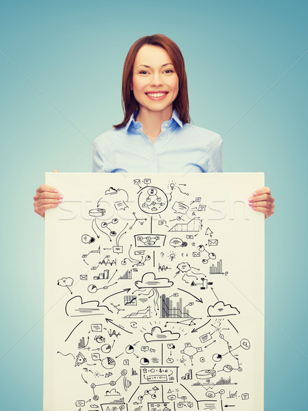 Mosolyog üzletasszony terv fehér tábla üzlet közgazdaságtan Stock fotó © dolgachov