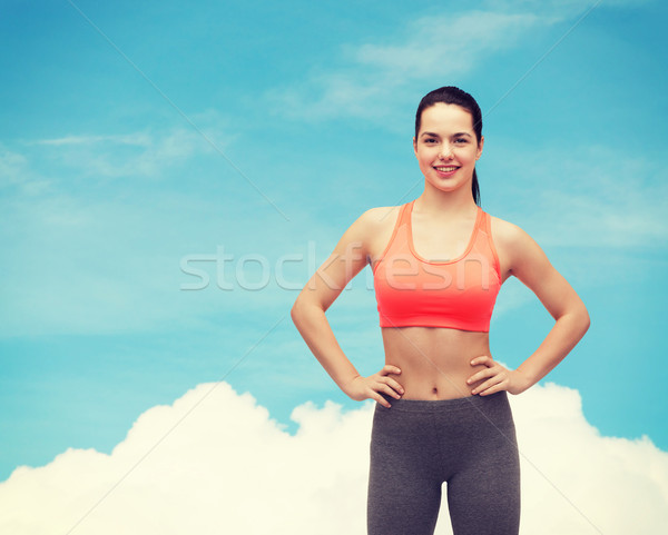 Mosolyog tinilány sportruha fitnessz diéta nő Stock fotó © dolgachov