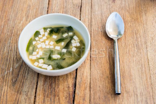 Tál leves tofu sajt kanál asztal Stock fotó © dolgachov