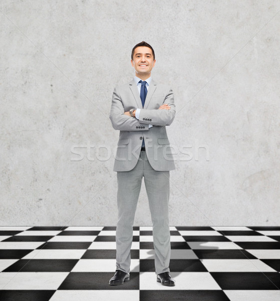 happy smiling businessman in suit Stock photo © dolgachov