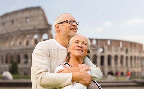 Szczęśliwy starszy para Rzym Włochy rodziny turystyki Zdjęcia stock © dolgachov