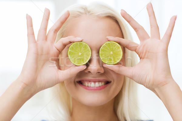 快樂 · 女子 · 眼睛 · 石灰 · 健康飲食 - 商業照片 © Syda Productions ...