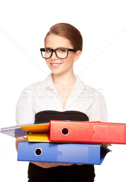 Fiatal vonzó üzletasszony mappák kép üzlet Stock fotó © dolgachov