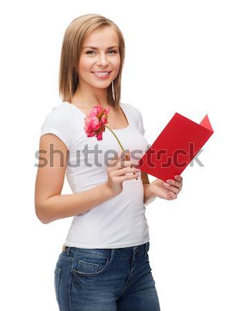 Kobieta czerwony poduszkę biały szczęśliwy model Zdjęcia stock © dolgachov