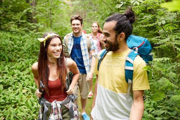 Grupy uśmiechnięty znajomych turystyka przygoda podróży Zdjęcia stock © dolgachov