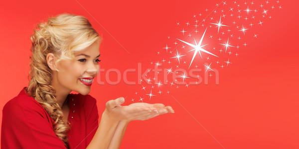 Mujer estrellas palmas manos personas Foto stock © dolgachov