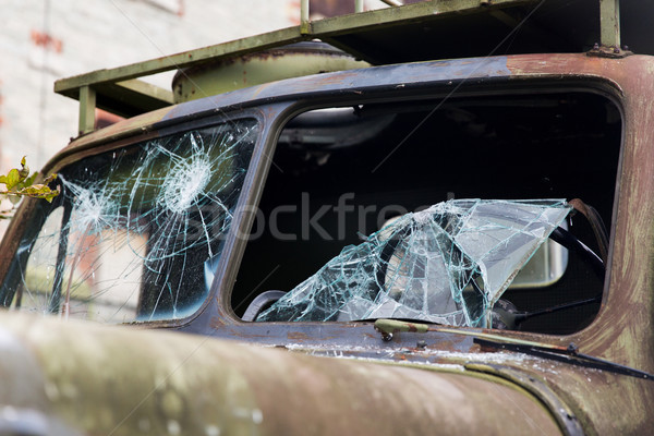 war truck with broken windshield glass outdoors Stock photo © dolgachov