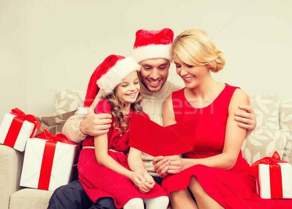 smiling family reading postcard Stock photo © dolgachov