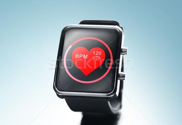 Czarny smart oglądać bicie serca ikona Zdjęcia stock © dolgachov
