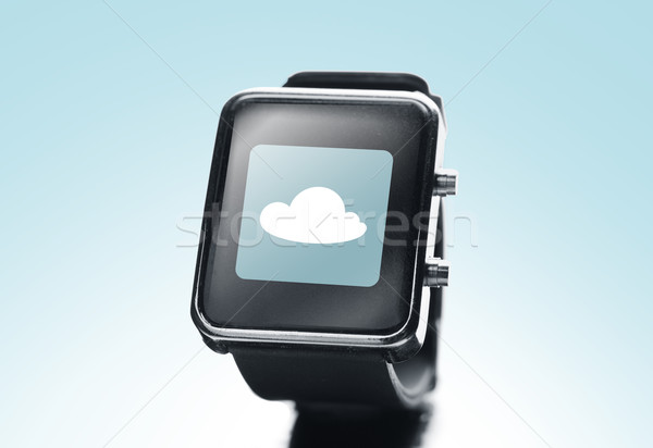 Zwarte smart horloge cloud icoon moderne Stockfoto © dolgachov