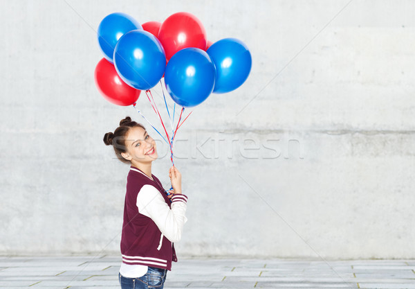 Heureux adolescente hélium ballons personnes adolescents Photo stock © dolgachov