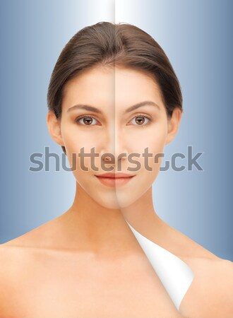 young woman face with bare shoulders over blue Stock photo © dolgachov