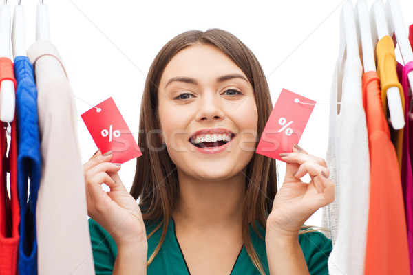 счастливым женщину продажи одежды гардероб Сток-фото © dolgachov