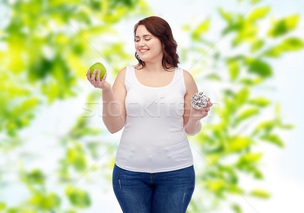 ストックフォト: 幸せ · プラスサイズ · 女性 · リンゴ · ドーナツ