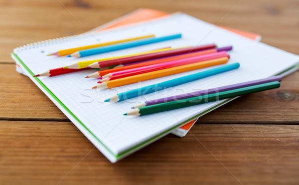 Közelkép zsírkréták szín ceruzák művészet iskola Stock fotó © dolgachov