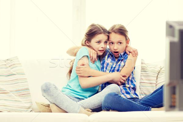 Ijedt kislányok néz horror tv otthon Stock fotó © dolgachov