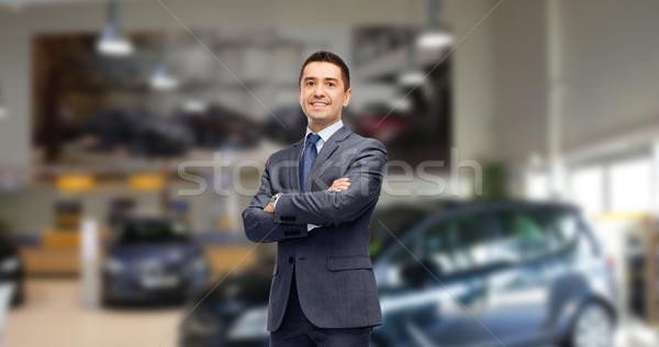 Empresário revendedor de automóveis automático mostrar negócio carro Foto stock © dolgachov