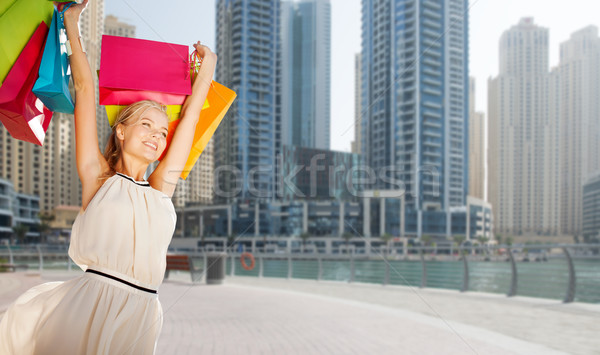Felice donna Dubai città persone Foto d'archivio © dolgachov