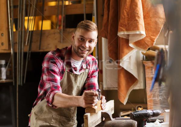 Falegname lavoro piano legno workshop professione Foto d'archivio © dolgachov