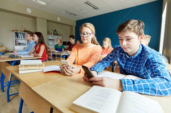 students with smartphone texting at school Stock photo © dolgachov