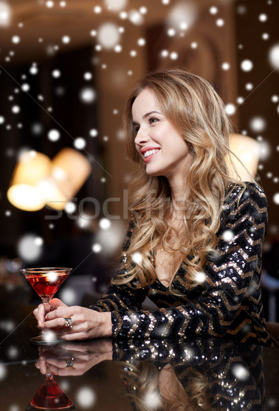 Glamourös Frau Cocktail Nachtclub bar Neujahr Stock foto © dolgachov