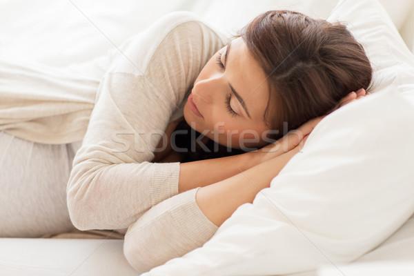 Mutlu hamile kadın uyku yatak ev gebelik Stok fotoğraf © dolgachov