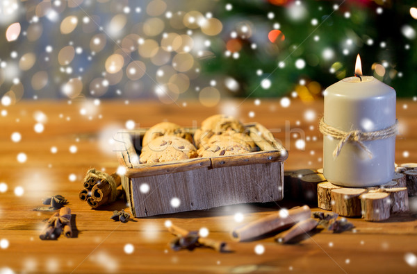 Noël avoine cookies table en bois vacances Photo stock © dolgachov