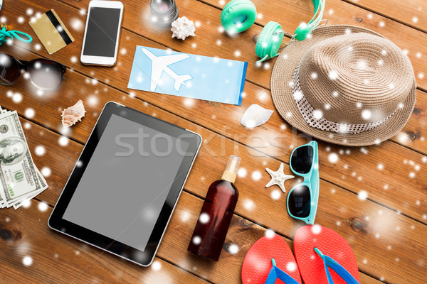 tablet pc, airplane ticket and travel stuff Stock photo © dolgachov