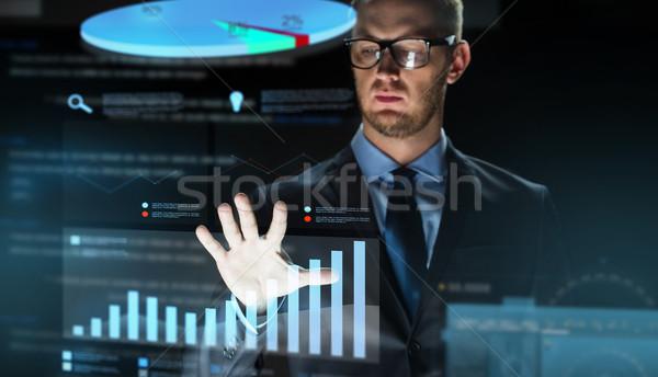 Zakenman virtueel grafiek projectie zakenlieden toekomst Stockfoto © dolgachov