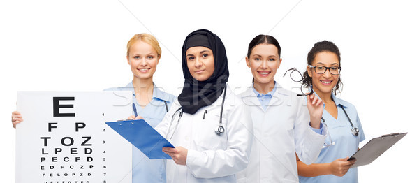 doctors with clipboards, eye chart and glasses Stock photo © dolgachov