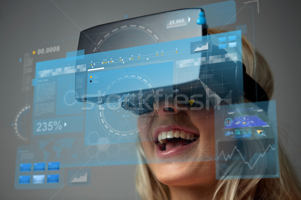close up of woman in virtual reality headset Stock photo © dolgachov