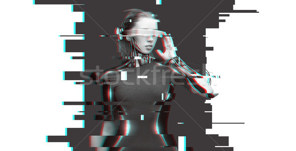 Donna cyborg futuristico occhiali persone cyberspazio Foto d'archivio © dolgachov