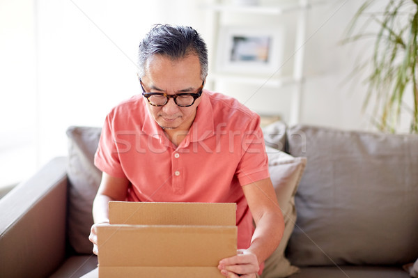 man opening parcel box at home Stock photo © dolgachov
