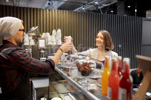 продавец чашку кофе женщину клиентов кафе малый бизнес Сток-фото © dolgachov