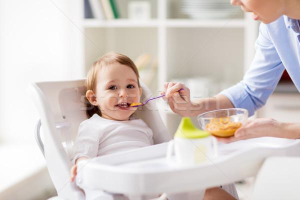 Boldog anya etetés baba otthon család Stock fotó © dolgachov