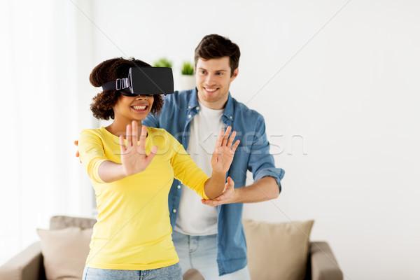 幸せ カップル バーチャル 現実 ヘッド ホーム ストックフォト © dolgachov