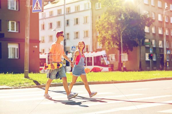 пару городской улице лет праздников Экстрим Сток-фото © dolgachov