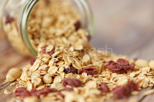 Jar granola muesli table alimentaire Photo stock © dolgachov