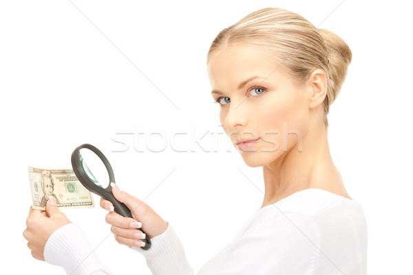 Vrouw vergrootglas geld gezicht vrouwelijke witte Stockfoto © dolgachov