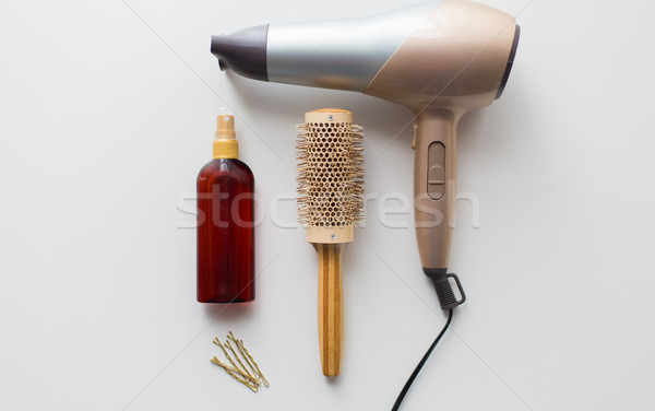 Hajszárító ecset forró haj spray szerszámok Stock fotó © dolgachov