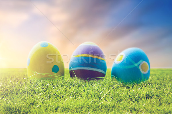 close up of colored easter eggs on grass Stock photo © dolgachov