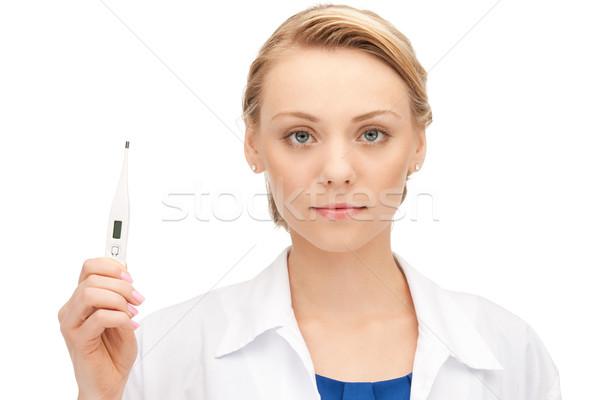Mulher atraente médico termômetro quadro mulher menina Foto stock © dolgachov
